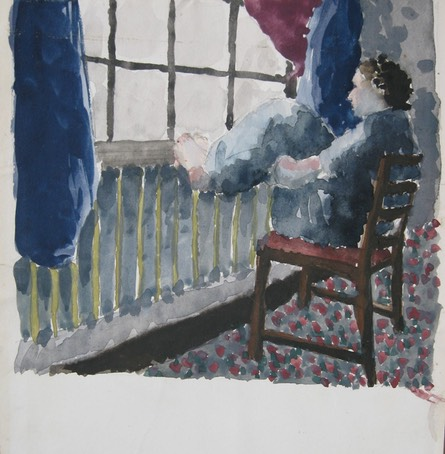 Girl with Foot on Sill Watercolor