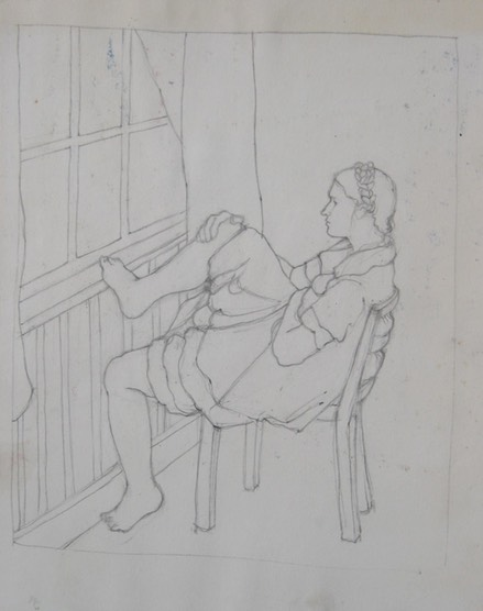Girl with Foot on Sill
